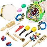 REFURBISHHOUSE Set di percussioni da 15 Pezzi per Bambini in ETA' prescolare Giocattoli didattici di apprendimento per Bambini tra Cui agitatori per Campane Tamburello Kazoo con Zaino per Bagagli