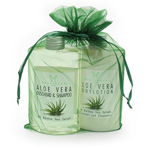 Aloe-vera-duschbad (Geschenkset Aloe Vera, von Haslinger, mit Duschbad & Shampoo und Bodylotion im Organzabeutel)