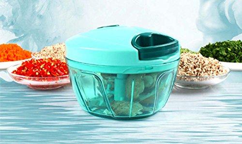 Küche 330ml Pull String manuelle Lebensmittel Chopper / Gemüse Slicer / Chopper / Dicer / Fleischwolf - zu hacken Obst, Gemüse, Nüsse, Kräuter, Zwiebeln, Knoblauch (elegante blau) (Edelstahl-pollen Presse)