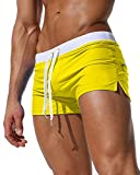 Gfirmament Mens Swim Trunks Hosen Bademode Shorts Slim Wear Mit Reißverschluss Tasche (M, YellowYellow)