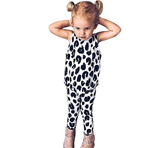 Ularma Baby Bodys Jungen Mädchen Kurzarm Leopard Overall Somme Cute Mode Damen Bauchfrei (Weiß, 110)