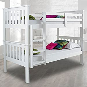Happybeds Atlantis Pinewood White Bunk Bed Two Sleeper Quality Solid Pine Wood Bunk Bed With 2 Luxury Spring Mattresses