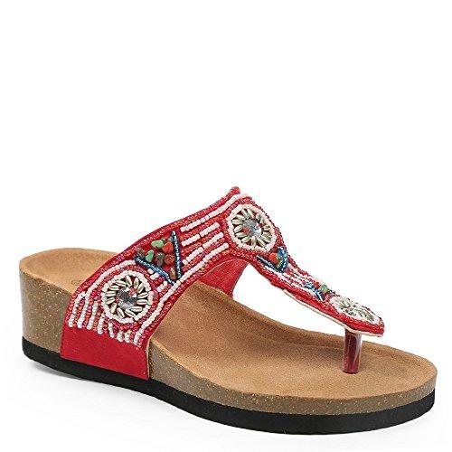 Ideal Shoes–Barfuß mit Riemen incrustes von Perlen Gebäck maellys Rot - rot