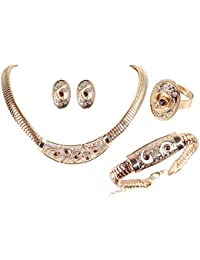 Shining Diva Fashion Gold Plated Party Wear Combo Of Necklace Jewellery Set With Earrings, Rings And Bracelet...