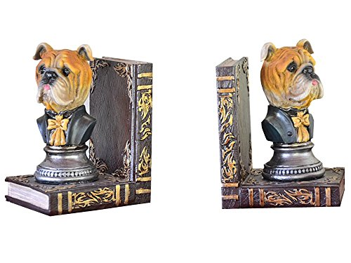 Buchstützen Hund Antik Hunde 2 Vintage Hundefigur Skulptur Farbig Buch Stütz 16 x 10 x 11 cm (Antik-hund-bücher)