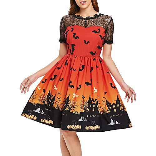 Halloween Kostüm Damen Spitzen Kurzarm Dekolletiert Kleider Elegant Knielang Sexy Rückenausschnitt Empire A-Linie Partykleider Karneval Party Mottoparty (XL, Orange) (Krähe Kostüm Für Hunde)