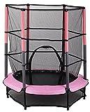 Kinder Trampolin Indoor Outdoor Garten 140 cm mit Sicherheitsnetz, Pink