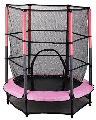 Kinder Trampolin Indoor Outdoor Garten 140cm mit Sicherheitsnetz, Pink