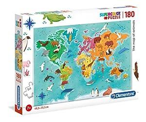 Clementoni Supercolor Puzzle-la Mapa de los animali-180Unidades, Multicolor, 29753