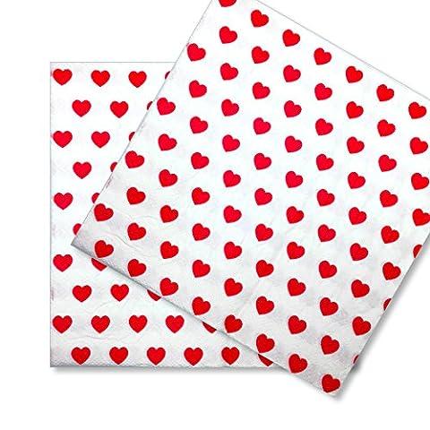 60x Papierservietten Servietten Herz EinsSein® 33x33cm weiss-rot Einwegservietten Hochzeitsservietten Partyservietten Speiseserviette