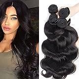 Tissage Bresilien en Lot Ondulé 3 Bundles Meches Bresiliennes Extension Cheveux Naturel Noir Naturel - Grade 7A Brazilian 100% Human Hair Body Wave - 20'22'24'