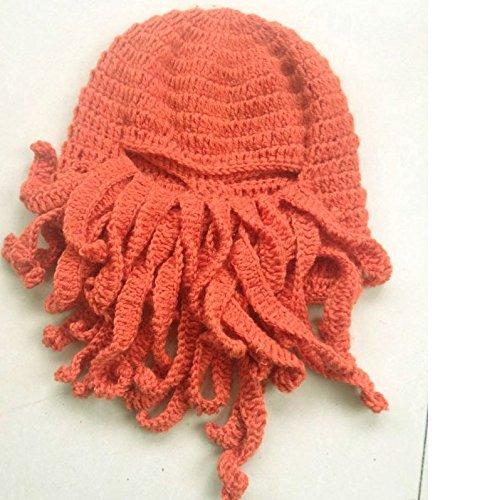5Five Tentakel Octopus Cthulhu Knit Mütze winddicht Bart Ski Maske Hat Orange