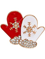 KUNQ Regalo Pareja/Regalo Navidad/High End Broches Diamantes Navidad Guantes Goteando Aceite Broches Broches De Navidad Regalos