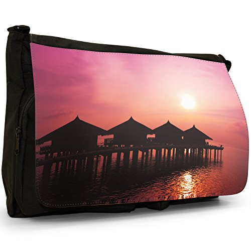 Fancy A Bag Borsa Messenger nero Sunset On Tropical Palms In Thailand Sun Set In Sea With Water Bungalows