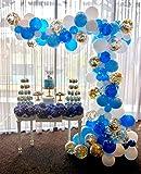 PuTwo Luftballons 70 Stück Party Luftballons Geburtstag Luftballons Latex Luftballons und Goldene Konfetti Luftballons Party Deko für Geburtstag, Hochzeit, Weihnachten, Baby Shower - Blau, Weiß, Gold