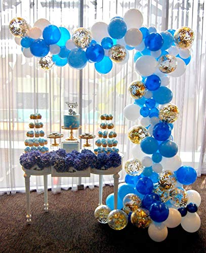 PuTwo Globos Cumpleaños 70 Piezas Globos de Látex y Globos Confeti Globos de Fiesta de Helio Artículos de Fiesta para Fiesta de Cumpleaños Boda Baby Shower Navidad Comunion - Azul & Blanco & Oro