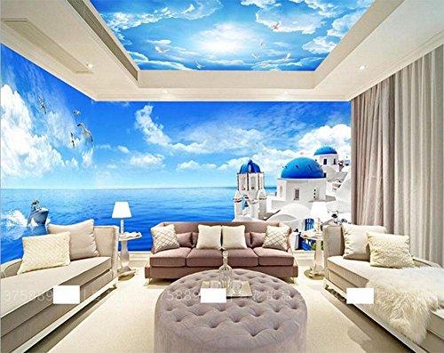 MEILI Blauer Himmel und weiße Schlafzimmer Wohnzimmer Decke Decke Tapete Hotel Restaurant 3D Wallpaper große Wandbilder Decke , B