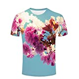 Photo de ouzhouxijia Mens 3D Printed T-Shirts Vintage Pink Cherry Blossoms Graphics Couple Tees par ouzhouxijia