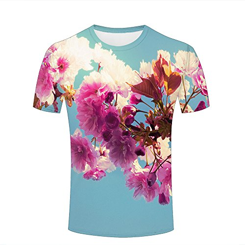 ouzhouxijia Mens 3D Printed T-Shirts Vintage Pink Cherry Blossoms Graphics Couple Tees A