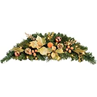 WeRChristmas Pre-Lit Decorated Arch Garland Illuminated with 20 Warm LED Lights, 90 cm - Copper/Gold