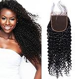 Lace Closure Human Hair Brasilianischen Haar Kinky Remy Echthaar Remy Haarverlängerung mit Baby Hair Naturschwarz 4*4 Zoll 40cm