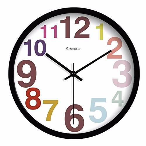 FortuneVin Wanduhr Clock Home Dekorationen hängende Uhren Silent No-drip Candy Farbige runde Zahl 14 in Schwarz