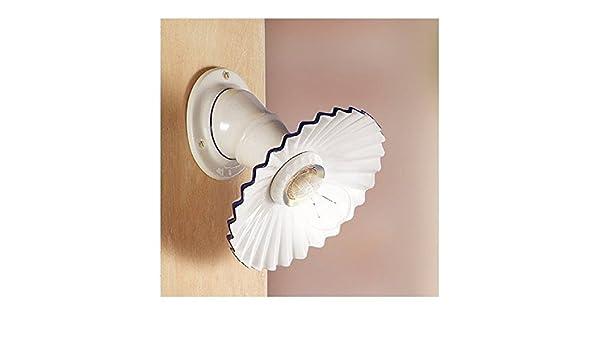 Applique lampada da parete in ceramica plissettata rustica country