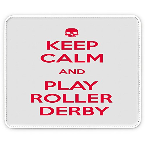 Keep Calm 10054, Keep Calm And Play Roller Derby, Pelle Mouse Pad Tappetino per Mouse Mouse Mat con Immagine Colorato Antiscivolo in Gomma di Base Ideale per Giocare.