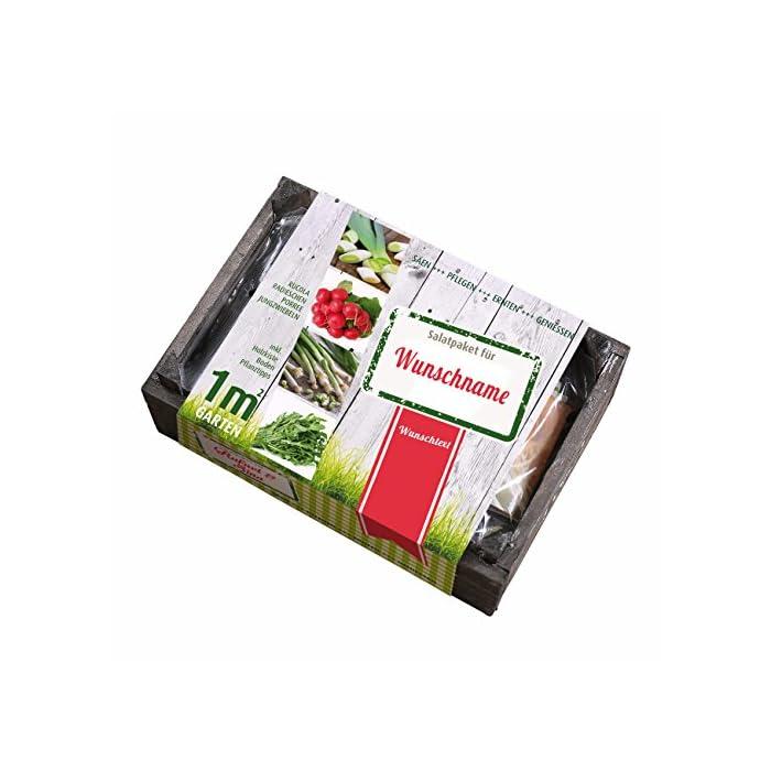 Lustapotheke® Pflanzset Salat als Geschenkset mit Druck des Namens und Glückwunschtext
