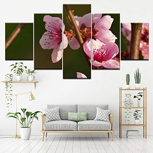 bdbdff 5 Panel Kunstdruck Rosa Pfirsich,Home Wohnzimmer Büro Trendig Dekoration Geschenk Kunstdruck Gemälde Leinwand 200Cmx100Cm(Rahmenlos) -