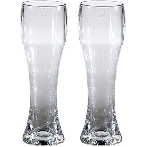 2x Bierglas Weizenbier Glas 500ml Gläser 2 Stück Bier Krug für Camping Küche glasklar elegantes Design Outdoor Partyglas Bruchfest Kunststoff Glas Trinkglas Wasserglas Weizen Fassbier Pils Trinkbecher
