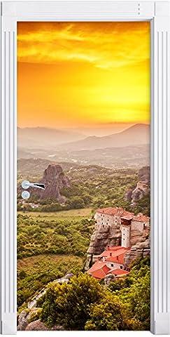 Maisons sur les rochers comme Murale, Format: 200x90cm, cadre de porte, porte autocollants, décoration de porte, porte autocollants