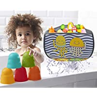 Brunoko Corner Baby Bath Toys Storage Organiser Bag -Toddler Bath Toy Organiser basket for bathtub, Shower Caddy -Bath toy holder bag with 4 suctions cups hooks and Free tap extender-Designed in Spain