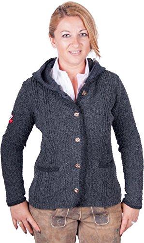 Almwerk Damen Strick Jacke Antonia mit Abnehmbarer Kapuze in Verschiedenen Farben, Größe Damen:XL - Größe 42;Farbe:Grau/Anthrazit