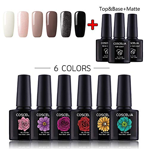 Coscelia UV Gel Lacken Nagellack Set 6pc Gellacken Polish Set +Top/Base Coat + Matt Top Coat