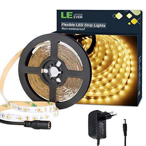 LE LED Streifen Set 12V 5m Selbstklebend, 3000 Kelvin Leiste mit 300 Stück 2835 LEDs, 8mm Breit, Flexibel DIY, Warmweiß LED Band inkl. Netzteil für Innen Heim Küche Dekoration - Kupfer 5 Stück Set