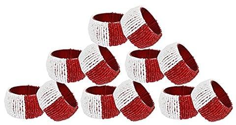 Serviette Set Ring 12 Pack Servietten Halter Glas Perlen Vintage Runde rot weiß - 6,4 cm