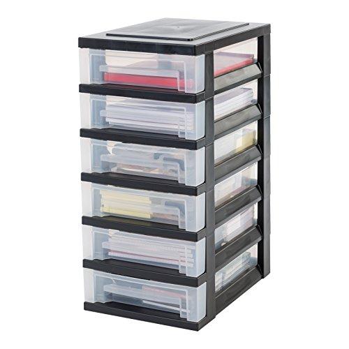 IRIS, Schubladenschrank / Schubladenbox / Rollwagen / Rollcontainer / Werkzeugschrank 'Smart Drawer Chest', SDC-360, mit Rollen, Kunststoff, schwarz / transparent