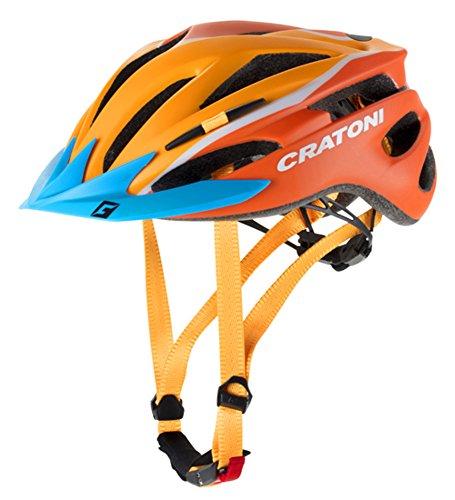 Cratoni Pacer Sondermodell 2018 Jugendhelm Kinderhelm Fahrradhelm (XS-S (49-55 cm), orange-Weiss Visier blau)
