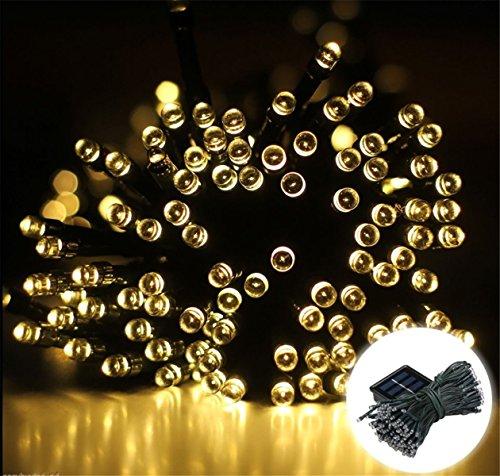 200 LED 22M Guirlandes Panneau Solaire Lampe Lumière Couleur Blanc Chaud Déco Fête Noël Mariage