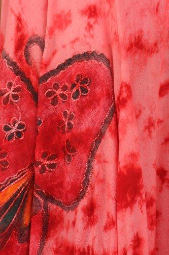 Sakkas Bindungsfärbung Schmetterling Panzer Mantel Kaftan Mid Länge Baumwollkleid Rot