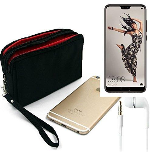 K-S-Trade TOP Set für Huawei P20 Pro Single-SIM Gürteltasche schwarz + Kopfhörer Travel Bag Travel-Case mit Diebstahlschutz praktische Schutz-Hülle Schutz Tasche Outdoor-case für Huawei P20 Pr