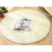Alfombra de alfombra de suelo suave de microfibra de E.life Alfombra, Alfombra de juego antideslizante de los niños antideslizante para sala de estar, Alfombra de gimnasio de mujer para oficina de alf (Diameter:140, Blanco)