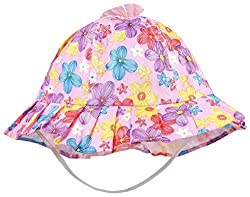 1stbabystore Baby Bowknot Bonnet Round Printed Girls Sun Hat Cap purple color