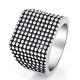 AmDxD Titanstahl Herren Ringe Runde Nieten Breit Ring Trauringe Heiratsantrag Bandringe Silber Gr.62 (19.7)