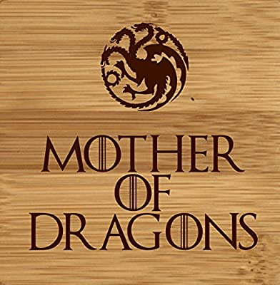 Laser Engraved Mother of Dragons Game of Thrones Inspired Wooden Coaster