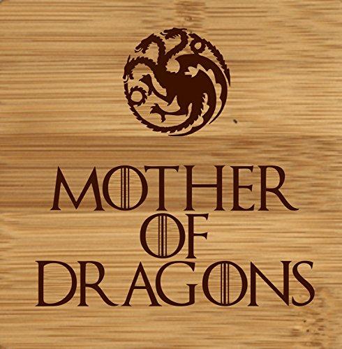 Laser grabado madre de dragones de juego de tronos inspirado de madera posavasos