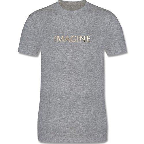 Vintage - Imagine Schriftzug Aquarell - Herren Premium T-Shirt Grau Meliert
