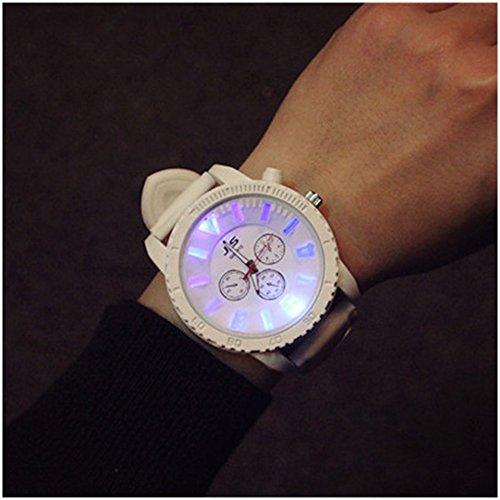 Lanlan Quarz-Uhren mit Silikon armband für Damen und Herren 2Pcs Couple Armbanduhr Luminous runden Zifferblatt Uhr, weiß