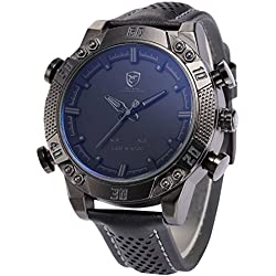 Shark Men's LED Date Day Alarm Digital Analog Quartz Sport Black Leather Band Wrist Watch SH262 Grey